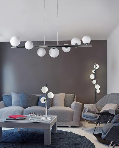 molekularne lampy wiszące do salonu